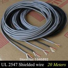 Многожильный контрольный кабель 20 м UL 2547 28/26/24 AWG, медный провод, экранированный аудиокабель, кабель для наушников, сигнальная линия