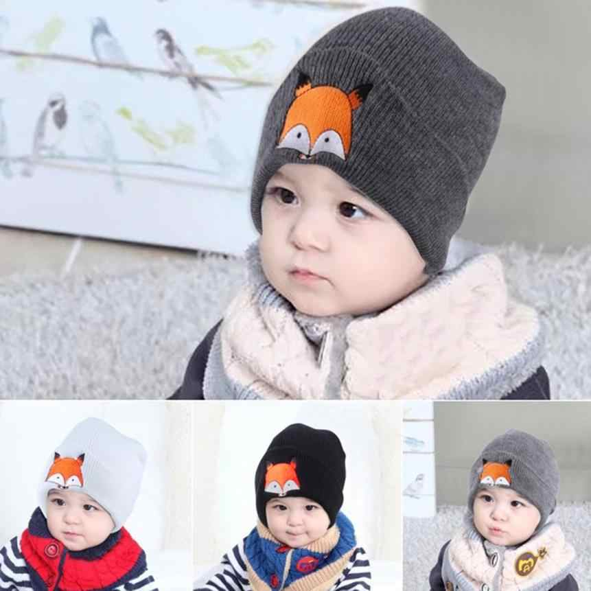 Baby Children Cap Fox Warm Winter Newborn Infant Toddler Kids Girl&Boy Hats Knitted Wool Hemming Comfortable Touch Gift