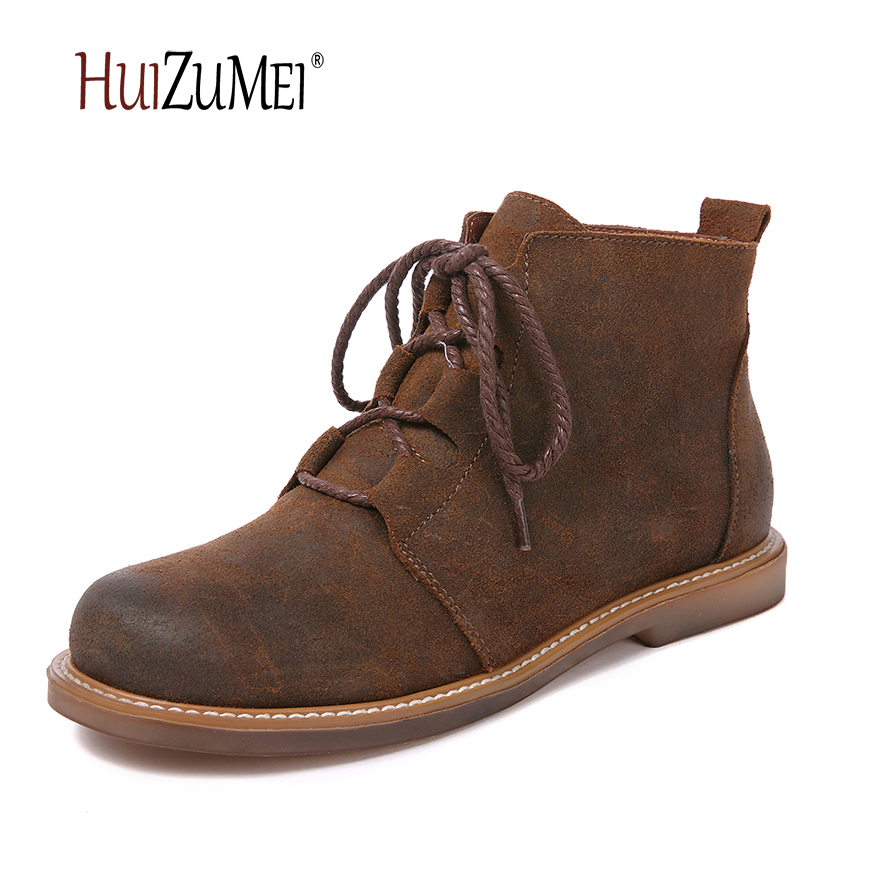 HUIZUMEI autumn and winter genuine leather woman boots female round toe ladies retro casual ankle boots for women women ankle boots handmade genuine leather woman boots autumn winter round toe soft comfotable retro boot shoes female footwear