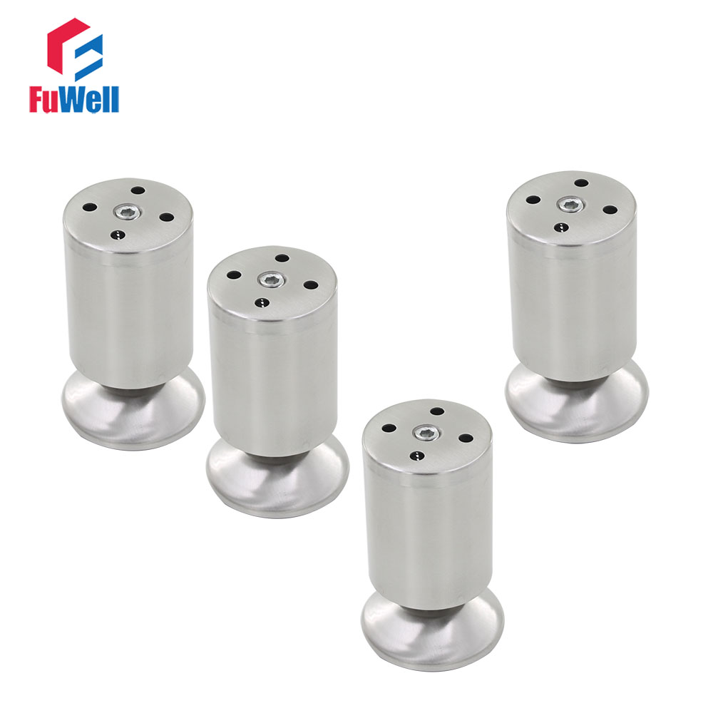 4pcs 100mm Length Furniture Legs Adjustable 10-15mm Cabinet Feet Silver Tone Stainless Steel Leveling Feet for Table Bed Sofa bqlzr 150x63mm square shape silver black adjustable stainless steel plastic furniture legs sofa bed cupboard cabinet table bench