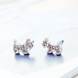 WYEAIIR милые нежные циркониевые серьги-гвоздики в виде щенка в виде милой модной собачки из 925 пробы серебра