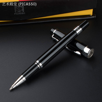 917 Luxury Black And Silver Clip Roller Ball Pen With 0 7mm Black Ink Refill