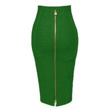 Plus Size XL XXL Women Summer Fashion Sexy Zipper Neon Green Bandage Skirt 2019 Pencil Skirt Candy Color Night Club Skirts Women