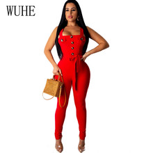 WUHE Fashion Elegant Jumpsuits Sexy Spaghetti Strap Button with Belt Bodycon Playsuits Summer Bandage Femme Night Party Overalls
