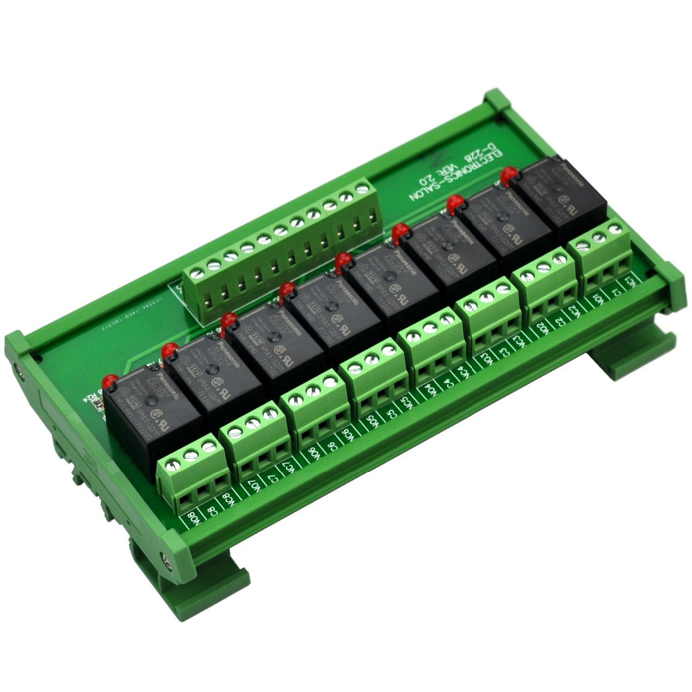 ELECTRONICS-SALON DIN Rail Mount 8 SPDT Power Relay Interface Module, 10A Relay, 12V Coil.ELECTRONICS-SALON DIN Rail Mount 8 SPDT Power Relay Interface Module, 10A Relay, 12V Coil.
