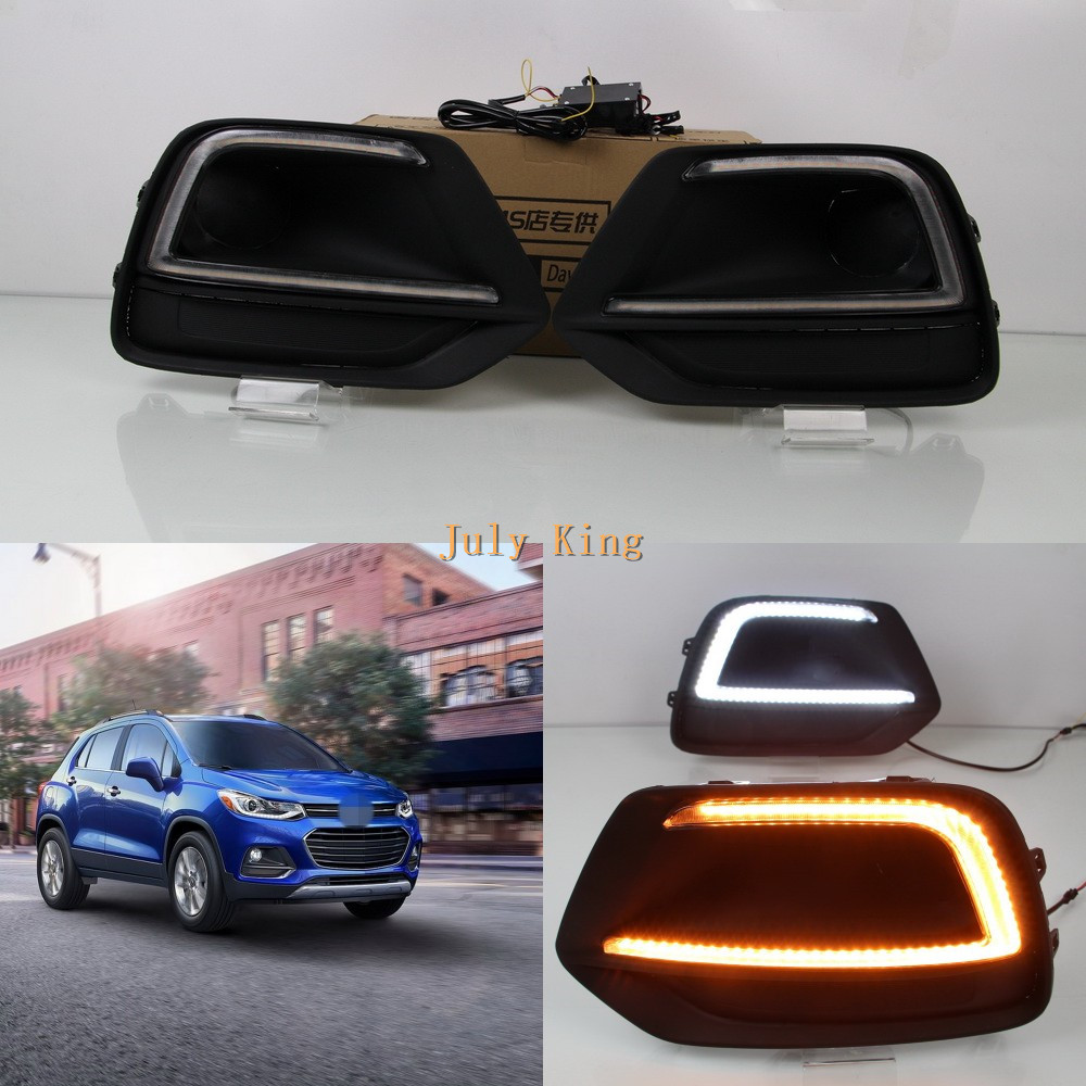 July King LED Daytime Running Lights Case for Chevrolet Trax 2017+, LED Front Bumper DRL With Yellow Turn Signals Light