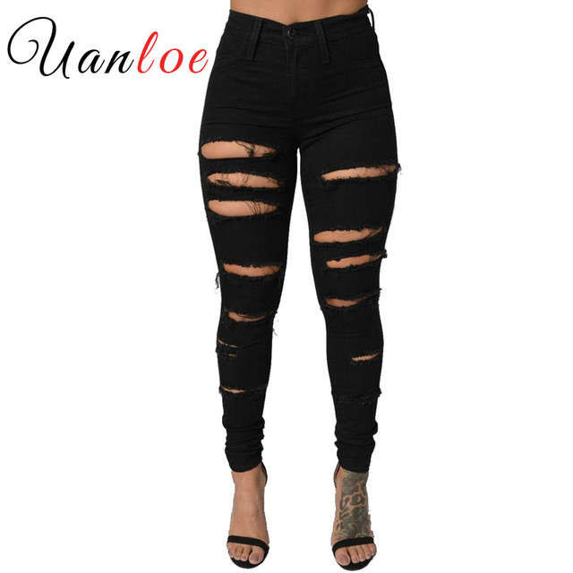 2f7b57471 UANLOE 2017 Modelos de Explosión de Verano Moda Para Mujer Skinny Jeans  Casual Ladies Agujero Pantalones