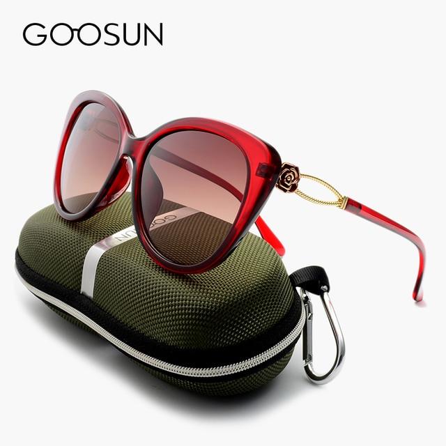 e460814fd769 GOOSUN Fashion Cat eye HD Polarized Sunglasses Woman Brand Designer UV400  Gradient Lens Flower Sun Glasses
