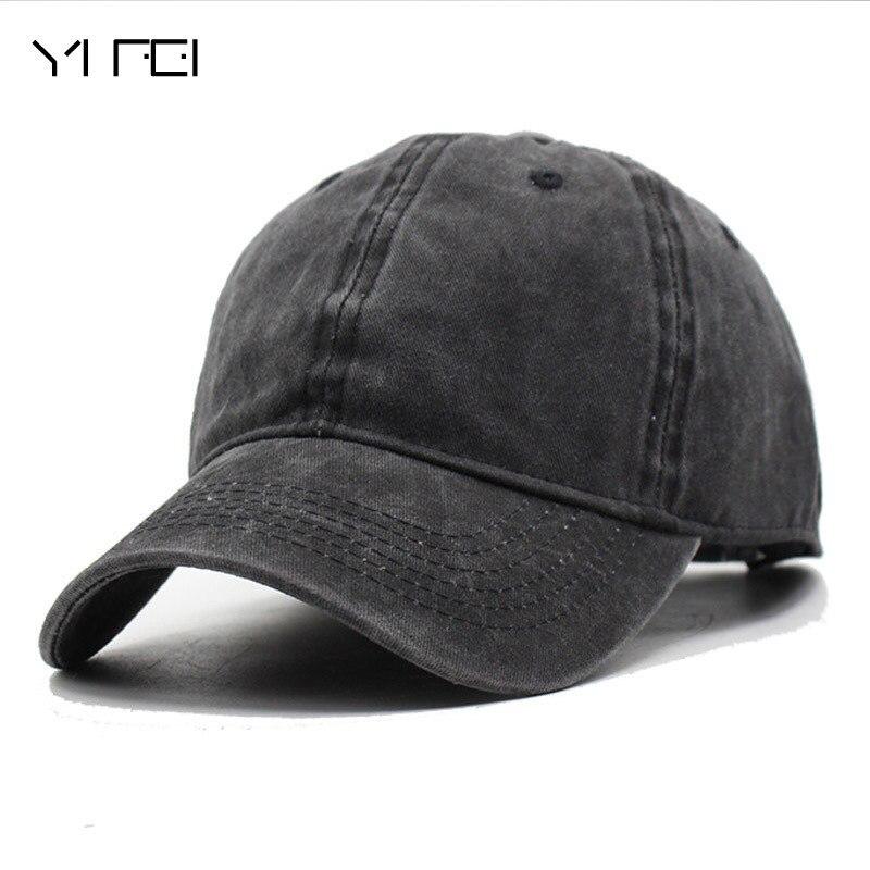 YIFEI  Fashion Women Washed Cowboy Baseball Cap Men Casquette Snapback Caps For Men Brand Bone Vintage Bad Hair Day Adjustable fashion solid color baseball cap for men and women