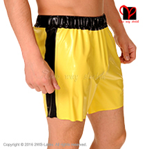 Latex Bermuda elastic bands stripes two sides Sexy Panties long leg Boxer short Rubber Hot pants