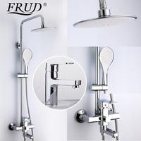 FRUD Shower Faucets bathroom shower mixer taps with hand shower head set chrome bathtub faucet rainfall shower set basin faucet