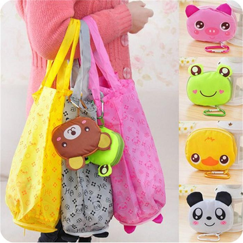 2017 Cartoon Animal Foldable Folding Shopping Tote Reusable Eco Bag Panda Frog Pig Bear waterproof shopping bags Storage Bags new style cartoon fruit lemon eco bag useful nylon foldable reusable shopping bags
