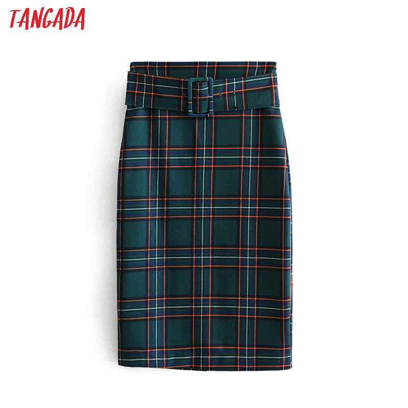 Tangada Fashion Women Green Plaid Skirt Vintage Elegant Ladies Skirt With Belt Mujer Retro Mid Calf Skirts 6A77