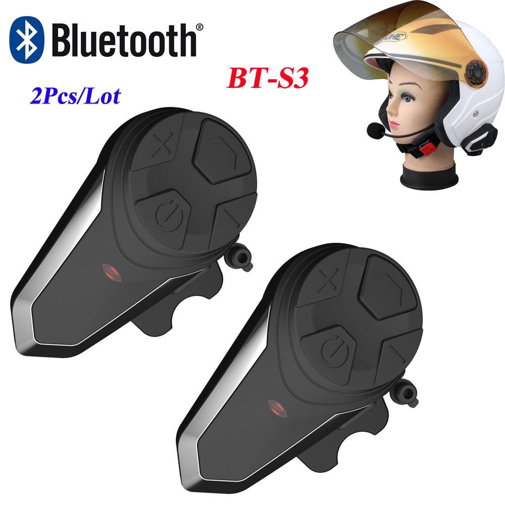 2Pcs Waterproof Motorcycle Helmet Intercom BT-S3 Moto Bluetooth Interphone Headset with FM Wireless Helmet Interphone Intercom 2pcs intercom built in fm radio motorcycle bluetooth helmet intercom 1000m wireless waterproof moto interphone headsets