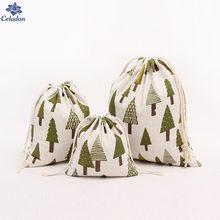 Sacs cadeaux en tissu de coton | 14x16cm, 19x24cm,25x32cm, avec cordon de serrage, pour enfants, sac de rangement pour arbre de noël, petit sac de rangement pour cadeau et bijoux 1 pièces