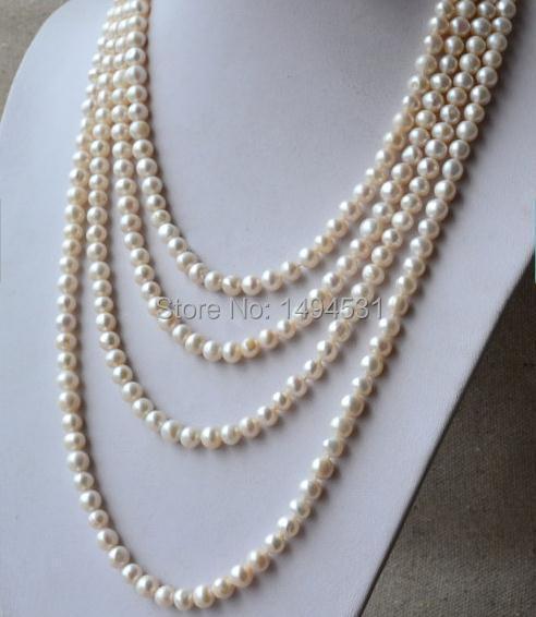 Collier de perles en gros, Long collier de perles 90 pouces 7-8mm couleur blanche véritable collier de perles d'eau douce, cadeau de bijoux de fête.