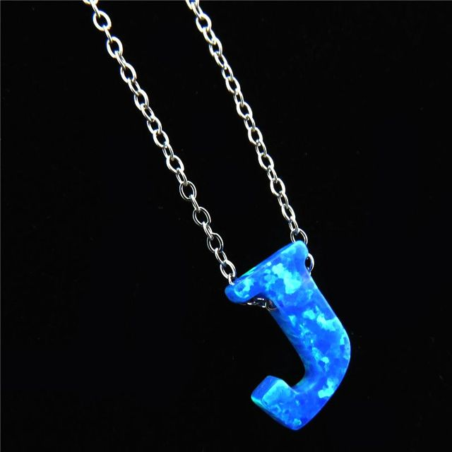 21652 Name Jewelry Alphabet J Letter Necklaces Blue Fire Opal