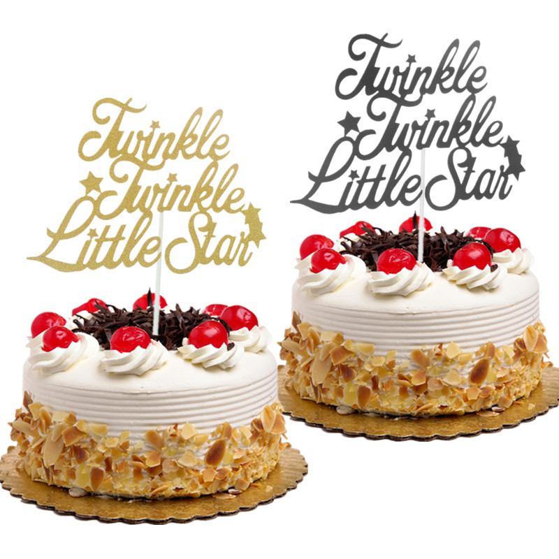 Cake Toppers Flags Glitter Twinkle Twinkle Little Star Cupcake Topper Kids Birthday Wedding Bride Baby Shower Baking Party DIY