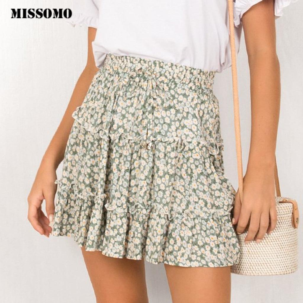 MISSOMO Women Skirt High Waist A Line Women Bohemian Floral Elastic Summer Beach Short Skirt Streetwear Korean Fashion Kawaii