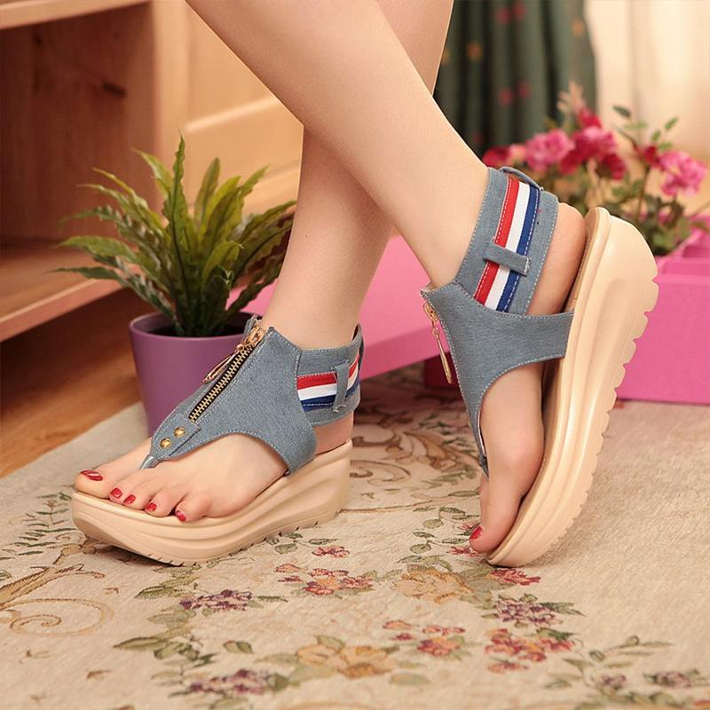Wedges Shoes For Women High Heel Summer Ladies Gladiator Sandals Woman Platform Cowboy Zipper Sandalias Mujer 2018 hj98 7