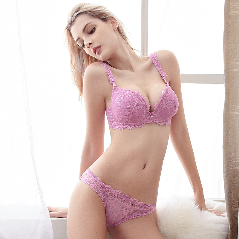 2e18cefa7d Aliexpress.com   Buy Free Shipping Woman Lady Lace Sexy Floral Push Up  Panties Hollow Sweet Transparent Comfy Fit Bowtie Underwear Sleepwear Bra  Set from ...