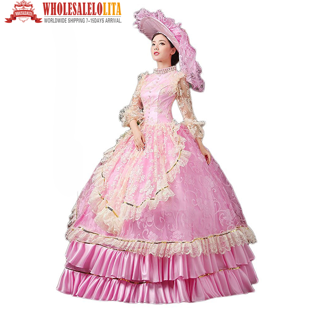 Vintage Period Dress Rococo Gown Reenactment Gothic Victorian Dress Prom Gown & Hat Theater Women Clothing