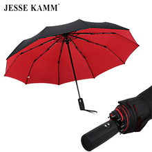 JESSE KAMM New Double Deck 190T Pongee Fully-automatic Umbrella 3 Folding 10 Ribs Fiberglass Strong Windproof Rain For Women Men