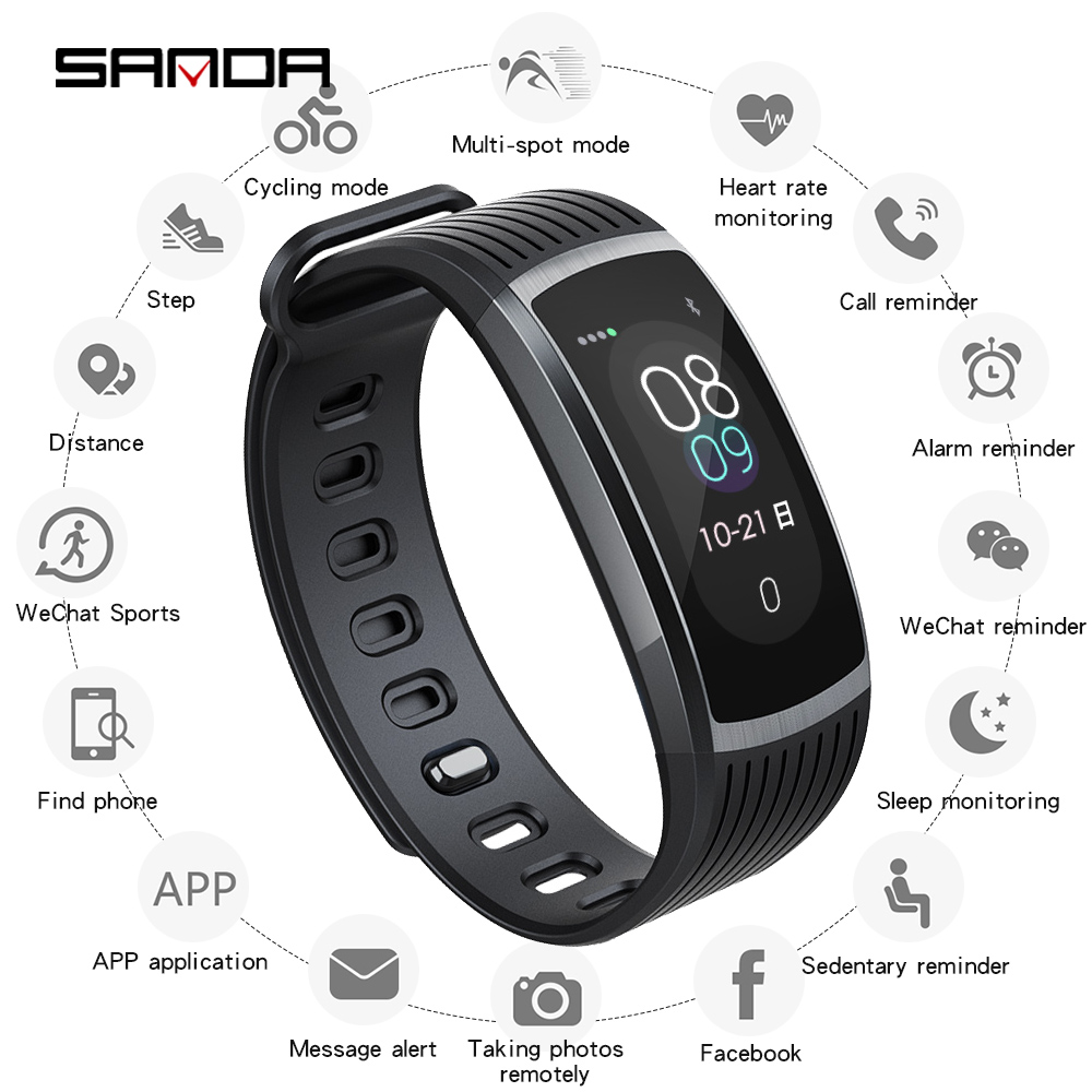 SANDA smart watch men 39 s and women 39 s Android waterproof heart rate tracker blood pressure sports smart bracelet sports watch in Digital Watches from Watches