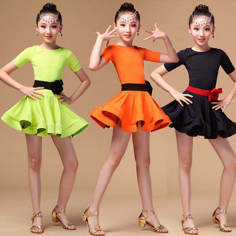 Girl Latin Dance Dress short Sleeves Standard Children Ballroom Dance Dresses Kids Salsa Rumba Cha Cha Samba Tango Summer Dress