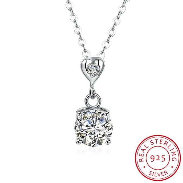 Mujeres/Niñas CZ Diamond Heart Pendant Necklace 100% 925 Plata Esterlina Fina Joyería de Moda de San Valentín Día regalo collier femme