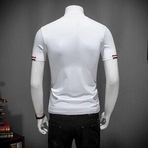 Image 5 - Outono branco t camisa 5xl 2019 nova moda designer masculino camisetas 4xl meia gola alta manga curta roupas elegantes #504