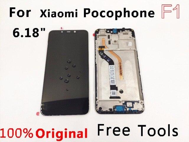 """מקורי LCD עבור 6.18 """"xiaomi pocophone F1 LCD תצוגת pocohone F1 dispay poco F1 LCD תצוגת מסך מגע LCD + מסגרת"""