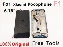 """원래 lcd 6.18 """"xiaomi pocophone f1 lcd 디스플레이 pocohone f1 dispay poco f1 lcd 디스플레이 터치 스크린 lcd + 프레임"""