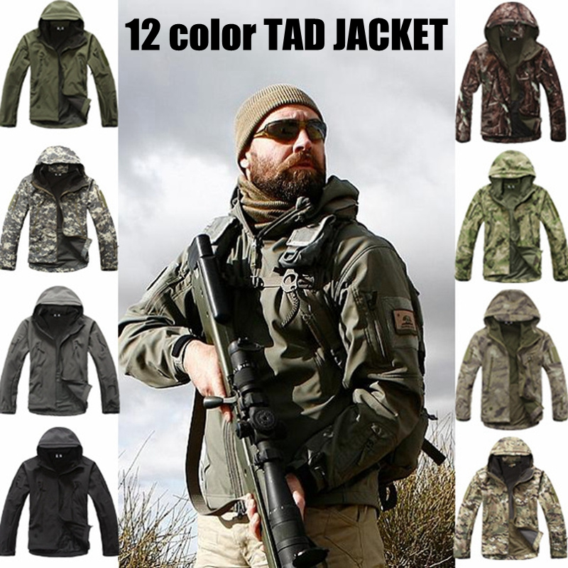 Softshell Tactical Suits Men Outdoor Hiking Clothes Military Jacket Camouflage Hunting Fleece Hooded Coat