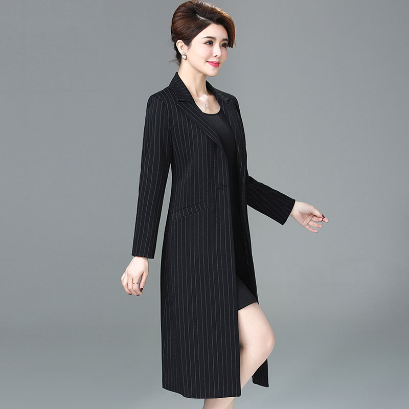 New 2019 spring autumn high quality elegant trench coat women striped slim medium long turn down collar fashion outerwear