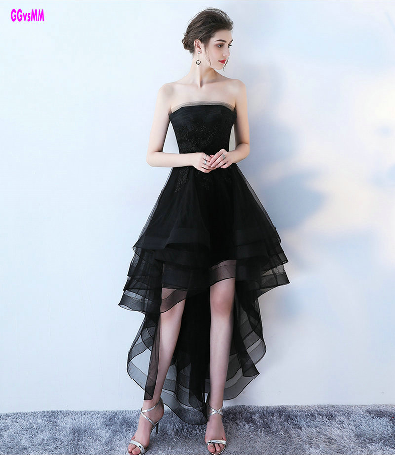 Evening Gowns For Wedding Guests: Elegant Black Prom Dresses 2019 New Sexy Strapless Lace Up