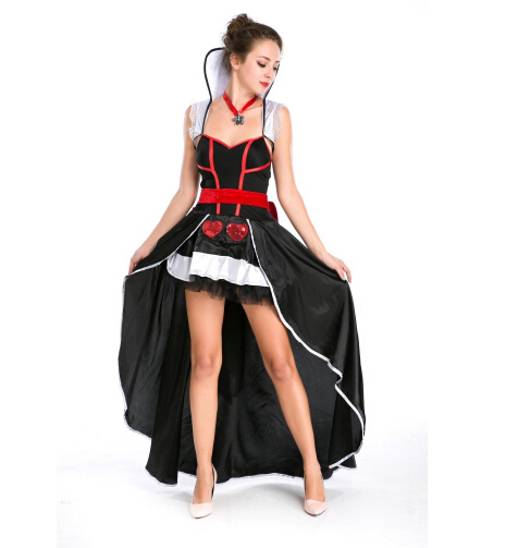 Queen Of Hearts Fancy Carnival Dress Poker fashion Sexy Halloween Costume Set Dress+ Belt+necklace For Ladies Cosplay Clothes