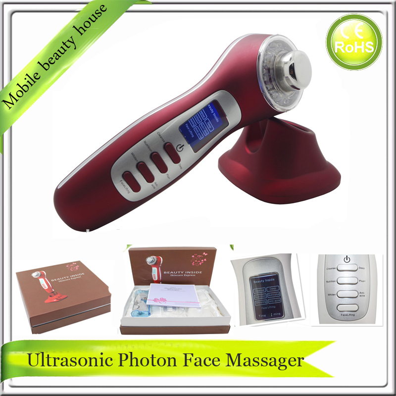 3MHZ Ultrasound Galvanic Current Photon Rejuvenation Skin Tightening Whitening Vibrating Face Beauty Care Massager Machine face care diy homemade fruit vegetable crystal collagen powder beauty facial mask maker machine for skin whitening hydrating us