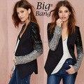 Blazers Plus Size XS-XXL Patchwork PU V-neck Silver Black Gradient Paillette One Button Women Blazers 2014 Suit Jacket M14112612