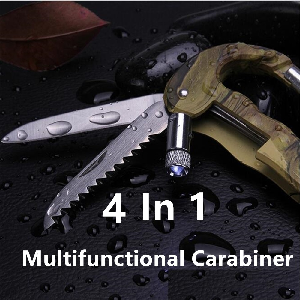 4 In 1 Multifunctional Outdoor Army Green Survival Carabiner With LED Light Survial Kit Mosqueton For Camping EDC Gear AA41-1P