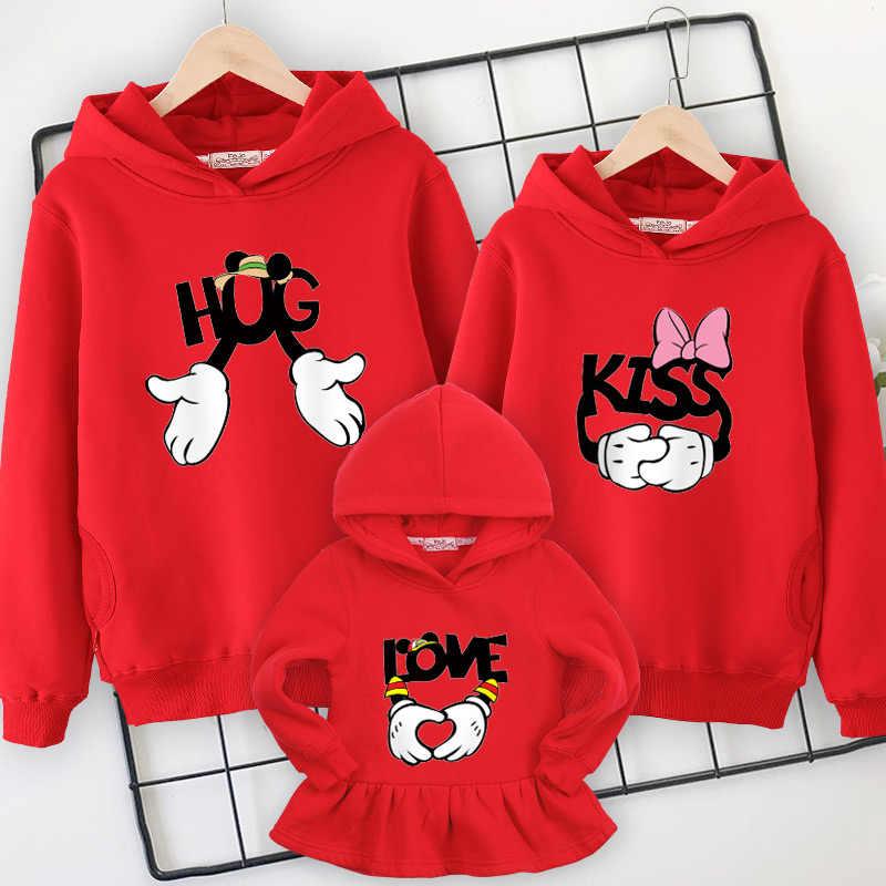 Famiglia vestiti di famiglia di corrispondenza Con Cappuccio maglione 2019 new spring vestiti da madre figlia padre e figlio mamma e vestiti della ragazza