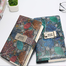 """""""Colorful flowers""""Password lock Notebook PU Leather Floral Flower Dotted Functional Lock line dots Diary Weekly Planner Cute B6"""