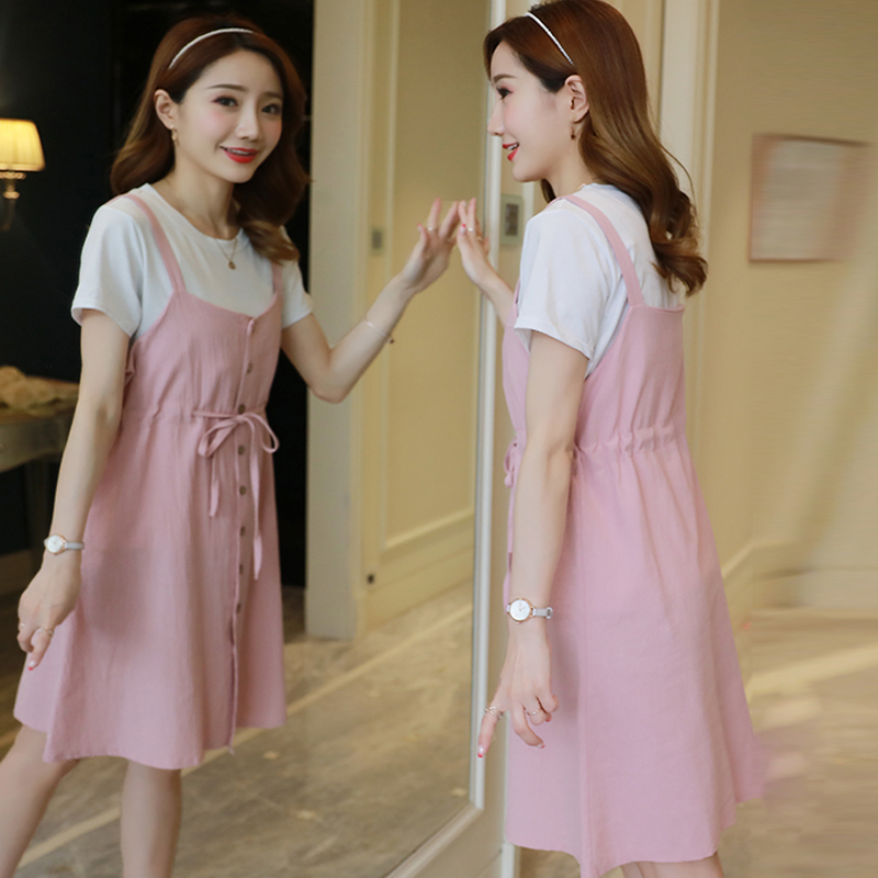 Maternity Dress Pregnant Women Breastfeeding Dresses Cotton and Linen Comfortable Dress Two-piece Set Go Out Maternity Clothes
