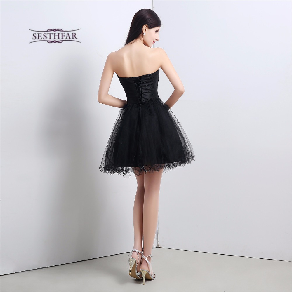 Black short bridesmaid dresses satin with tulle embroidery ball black short bridesmaid dresses satin with tulle embroidery ball gowns knee length wedding guest dresses maid of honor s16102 in bridesmaid dresses from ombrellifo Choice Image