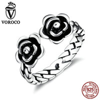 VOROCO New Arrivel Summer Collection 100 925 Sterling Silver Rose Open Finger Cuff Rings For Women