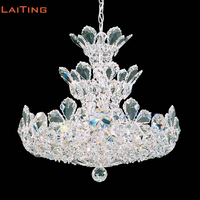 LAITING Dia 50cm Crown Silver Crystal Chandelier Lighting For French Home Lighting Decoration