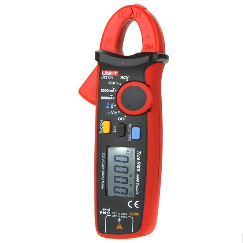 High Resolution UT211A UNI-T True RMS Mini Clamp Meters Auto Range V.F.C. NCV Capapictance Tester W/ Relative Mode uni t ut216c 600a true rms digital clamp meters auto range w frequency capacitance temperature