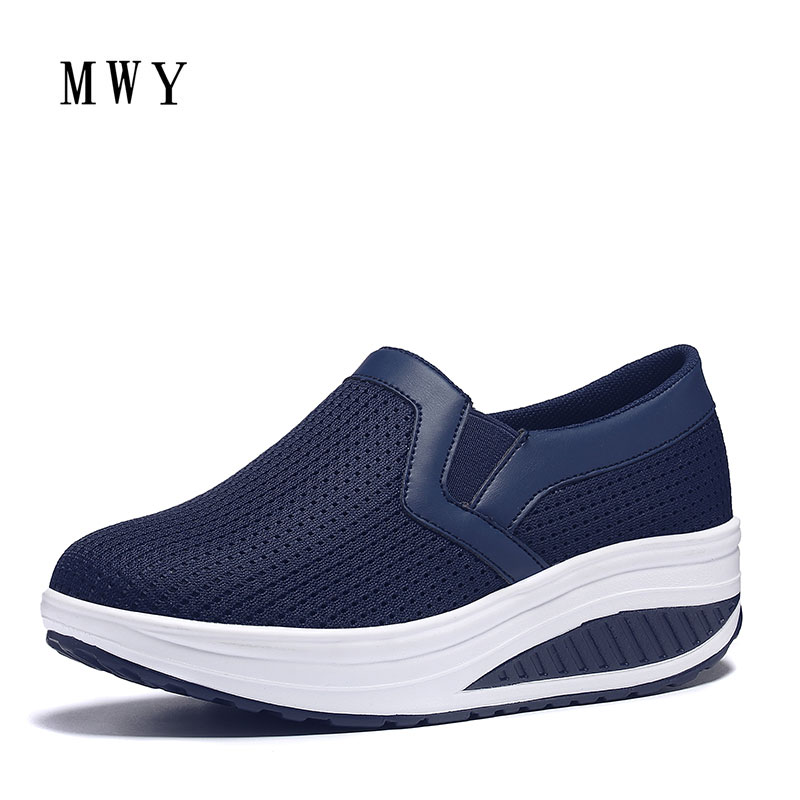 MWY Women Slimming Flats Platform Loafers Ladies Elegant Air Mesh Creepers Shoes Woman Slip On Women's Breathable Casual Shoes summer air mesh women platform shoes 2018 brand harajuku women rubber flat shoes fashion breathable non slip casual ladies shoes
