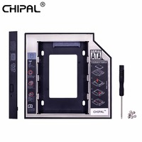 CHIPAL 2nd HDD Caddy 12.7mm Aluminum Optibay SATA 3.0 Hard Disk Drive Box Enclosure DVD Adapter 2.5 SSD 2TB For Laptop CD-ROM