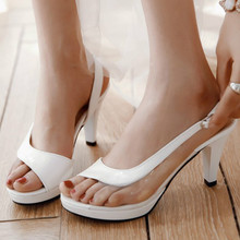 Womens Slingback Peep Toe Sandals Shoes Summer Shoes Women Shoes Plus Size 33 Bridal White Sandals White Black Pink Blue Green cocoafoal woamn wedges sandals plus size 32 45 pink high heels white wedding shoes black blue sexy peep toe summer pumps 2018